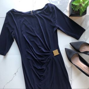 Tahari Blue Mid Sleeve Dress